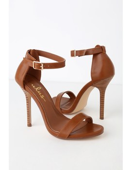 Elsi Stacked Tan Ankle Strap Heels by Lulu's