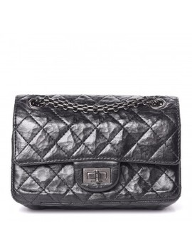 Chanel Metallic Aged Calfskin Quilted 2.55 Reissue 224 Flap Black by Chanel