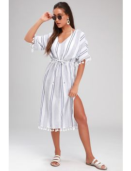 Sunshine On White And Blue Striped Kaftan Swim Cover Up by Lulus