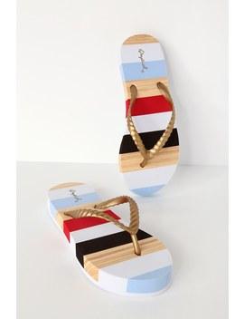 Kirsten Gold Multi Stripe Flat Sandals by Lulu's