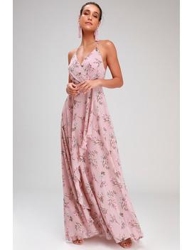 Romance Abound Mauve Pink Floral Print Surplice Maxi Dress by Lulus