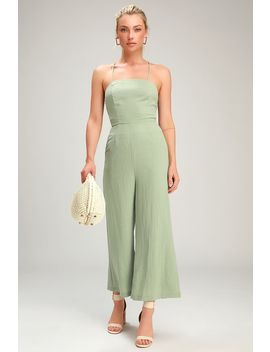 Adelia Sage Green Lace Up Culotte Jumpsuit by Lulus