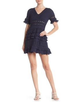 Solid Lace Trim Fit & Flare Dress by Allison New York