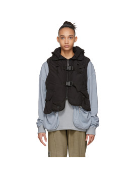 Black Cropped Step Front Padded Vest by A Cold Wall*