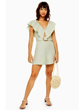 Riviera Mint Linen Blend Frill Playsuit by Topshop
