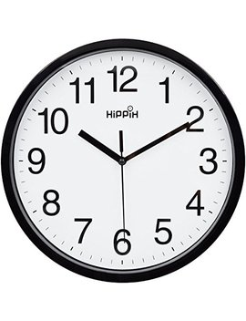 Hippih 10 Silent Quartz Decorative Wall Clock Non Ticking Classic Digital Clock Battery Operated Round Easy To Read Home/Office/School Clock (Black) by Hippih