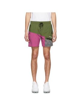 Green Logo Zippered Pocket Shorts by AimÉ Leon Dore