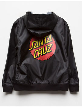 Santa Cruz Classic Dot Black & Red Girls Hooded Windbreaker Jacket by Santa Cruz