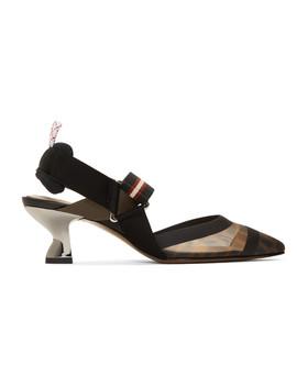 Black 'forever Fendi' Colibri 55 Slingback Heels by Fendi