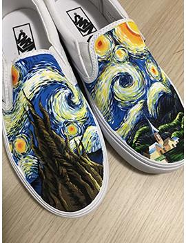 The Starry Night Vincent Van Gogh Vans Painting Sneakers Hand Painted Shoes Vans Shoes Sneaker For Women Men Free Shpping by Amazon