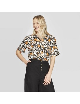 Women's Floral Print Short Sleeve Collared Shirt   Who What Wear by Who What Wear