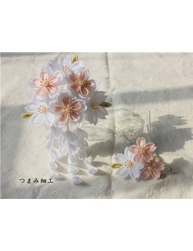 Handmade Japanese Traditional Tsumami Kanzashi Hair Clip Pin Comb Kimono Yukata Outfit Wedding Ornament Bride Pink Flowers Sakura Falls by Etsy