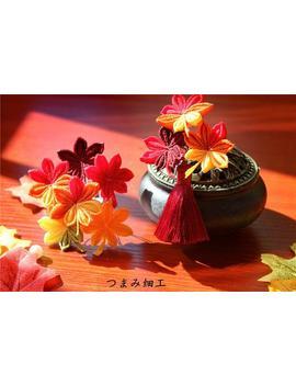 Handmade Japanese Traditional Tsumami Kanzashi Hair Clip Pin Kimono Yukata Outfit Wedding Ornament Fall Red Maple Leaf &. Flower Falls by Etsy