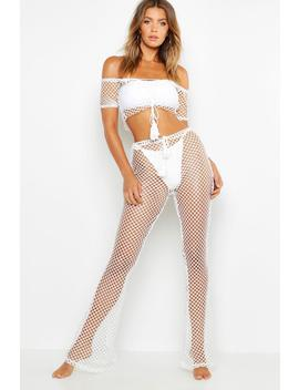 Fishnet Cropped Beach Co Ord by Boohoo