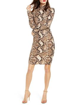 Snake Print Long Sleeve Body Con Dress by Leith