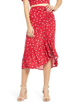 Floral Ruched Midi Skirt by Band Of Gypsies