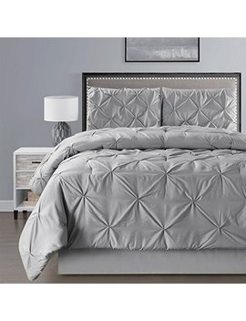 4 Pieces Double Needle Stitch Goose Down Alternative Pinch Pleat Solid Grey / Gray Comforter Set Queen Size Bedding   Hypoallergenic, Plush Siliconized Fiberfill by Grand Linen