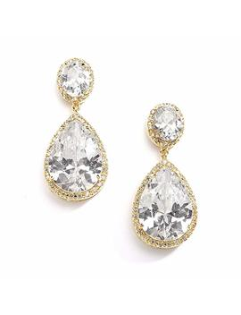 Mariell Pierced Or Clip On Bridal Earrings With Oval Cut Framed Halos & Bold Pear Shaped Teardrop Dangles by Mariell