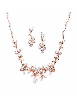 Mariell Elegant Vine Rose Gold Necklace And Earrings Set For Weddings, Brides & Formals by Mariell