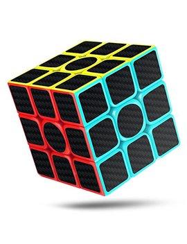 Cfmour Rubiks Cube, Rubix Cube Speed Cube 3x3x3, Smooth Magic Carbon Fiber Sticker Rubix Speed Cubes, Enhanced Version, 5.7 Black by Cfmour