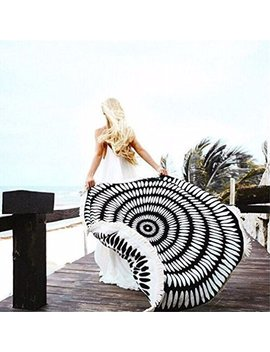 Cckiise Round Mandala Tapestry Indian Wall Hanging Fashion Circle Beach Blanket,Yoga Mat, Picnic Blanket,Beach Throw Towel,Sunscreen Shawl Skirt Tassels(Black) by Cckiise