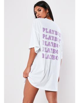 Playboy X Missguided White Repeat Back Slogan T Shirt Dress by Missguided