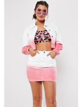 White Ombre Raw Hem Denim Co Ord Mini Skirt by Missguided