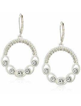 Napier Women's Silver Tone And Crystal Circle Drop Earrings by Napier