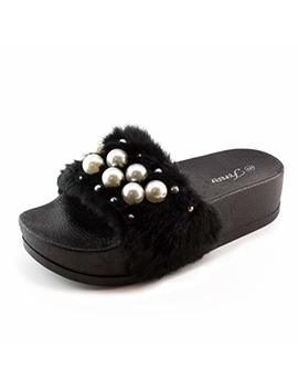 Generation19 Womens Faux Pearl Strap Elevated Platform Fur Slide Sandals (Adults) by Generation19