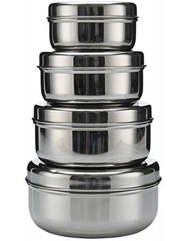 Shaurya 18/8 Stainless Steel 4 Pack Nesting Lunch Box And Food Storage Metal Snack Container Set   Eco Friendly, Dishwasher Safe, Bpa Free, Food Storage Or Leftovers (10oz   30oz) by Royal Beei