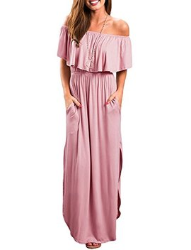Aifer Women's Ruffle Off Shoulder Side Pockets Bohemia Split Beach Maxi Dress by Aifer