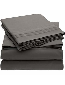 Mellanni Bed Sheet Set Brushed Microfiber 1800 Bedding   Wrinkle, Fade, Stain Resistant   Hypoallergenic   3 Piece (Twin, Gray) by Mellanni