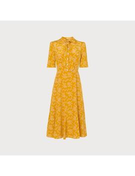 Montague Yellow Bow Print Silk Dress by L.K.Bennett
