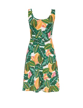 Neon Palm Print Fit And Flare Dress by Dorothy Perkins
