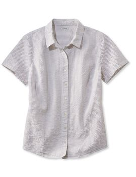 Women's Essential Seersucker Shirt, Short Sleeve Stripe by L.L.Bean