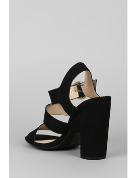 Qupid Strappy Open Toe Ankle Strap Chunky Heel by Urbanog