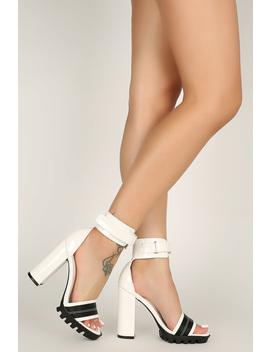 Cuff Ankle Strap Lug Sole Chunky Heel by Urbanog