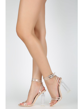 Perspex Piping Trim Ankle Strap Open Toe Block Heel by Urbanog