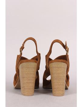 Qupid Knotted Peep Toe Slingback Chunky Heel by Urbanog