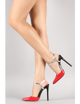 Patent Pointy Toe Two Tone Ankle Cuff Stiletto Pump by Urbanog