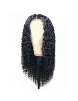 Middle Part Long Curly Synthetic Wig   Natural Black by Rosewholesale