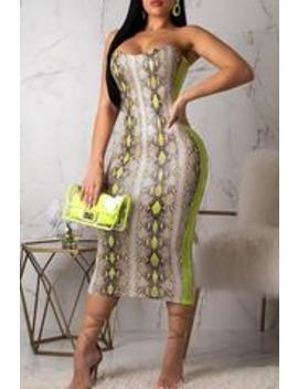 Roaso Strapless Shoulder Snakeskin Pattern Dress by Roaso