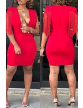 Roaso Trendy Deep V Neck Tassel Design Mini Dress by Roaso