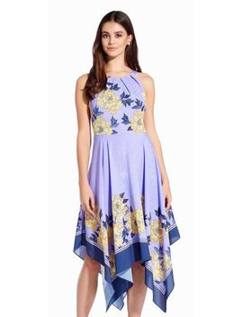 Floral Halter Dress With Asymmetrical Skirt by Adrianna Papell