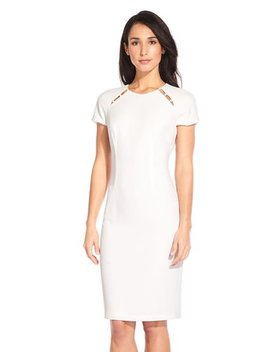 Short Sleeve Sheath Dress With Pearl Accents by Adrianna Papell