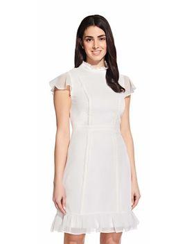 Short Sleeve Chiffon Dress With Ruffle Trim by Adrianna Papell