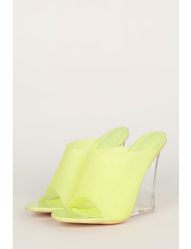 Colored Pvc Open Toe Mule Clear Wedge by Urbanog