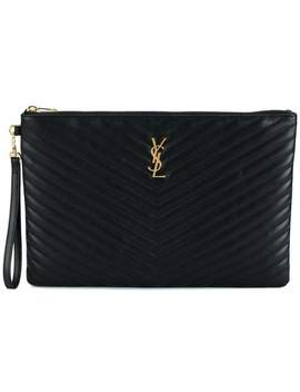 Black Quilted Large Leather Pouch by Saint Laurent
