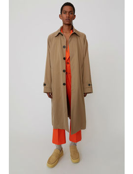 Manteau Long En Coton Beige Noisette by Acne Studios