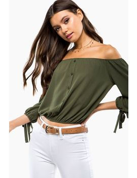 Tie Sleeve Off Shoulder Top by A'gaci